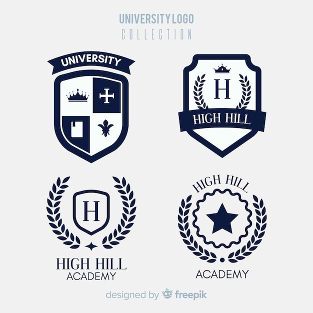 Collection de logo universitaire coloré avec un design plat Vecteur gratuit