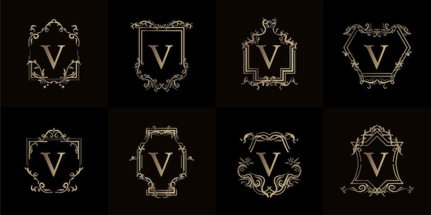 Collection De Logo V Initiale Avec Ornement De Luxe Ou Cadre De Fleur Vecteur Premium