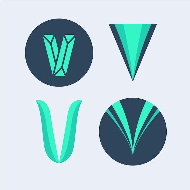 Collection De Logo V Vecteur Premium