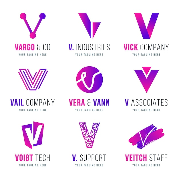Collection De Logo V Vecteur Premium