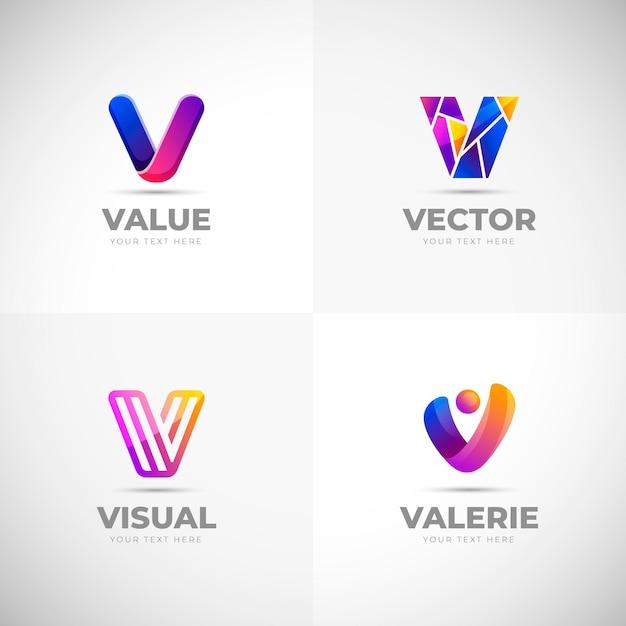 Collection De Logo V Vecteur gratuit