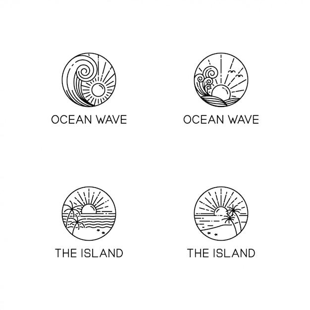 Collection de logo vagues océaniques Vecteur Premium