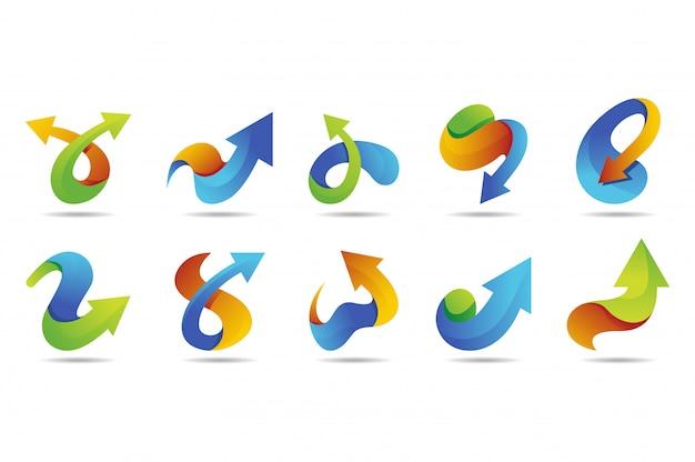 Collection de logo vectoriel flèche avec style coloré Vecteur Premium