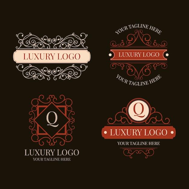 Collection de logo vintage de luxe Vecteur gratuit