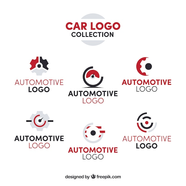 Collection De Logo De Voiture Rouge Et Blanc Vecteur Premium