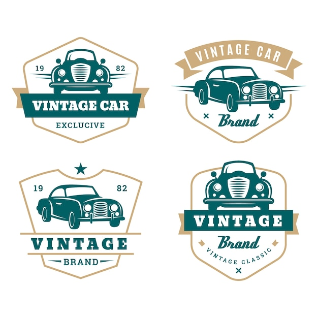 Collection De Logo De Voiture De Style Vintage Vecteur gratuit
