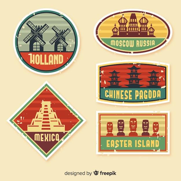 Collection de logo de voyage vintage plat Vecteur gratuit