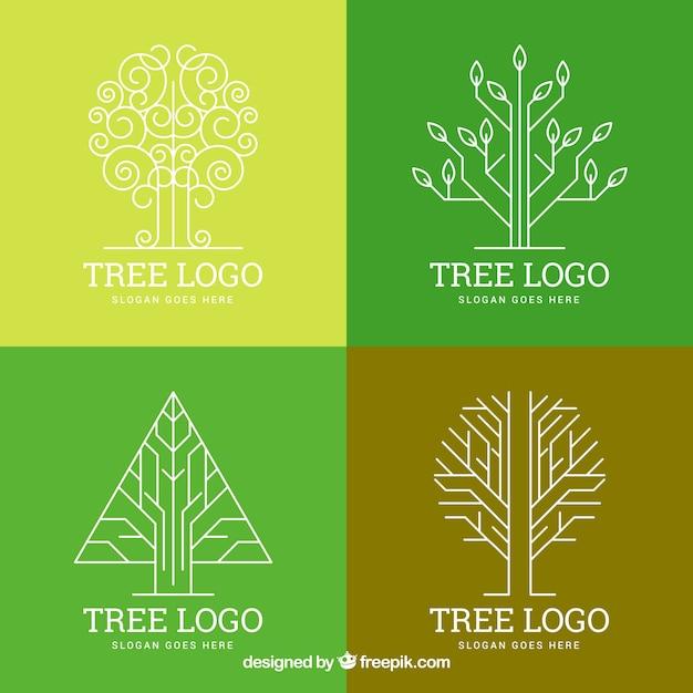 Collection de logos d'arbre dans le style plat Vecteur gratuit