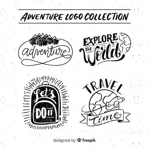 Collection de logos d'aventure dessinés à la main Vecteur gratuit