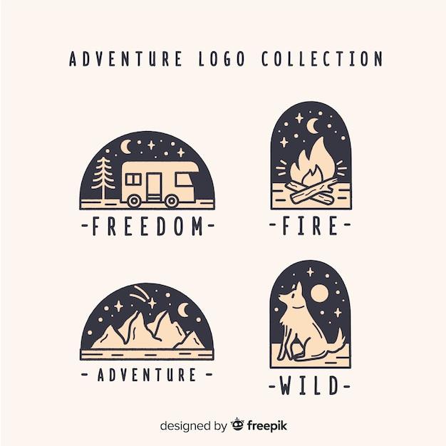 Collection de logos d'aventure dessinés à la main Vecteur gratuit