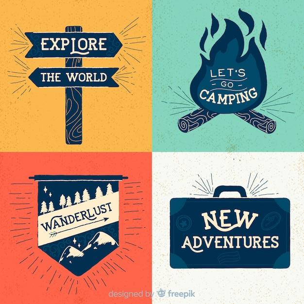 Collection De Logos D'aventure Vintage Vecteur gratuit