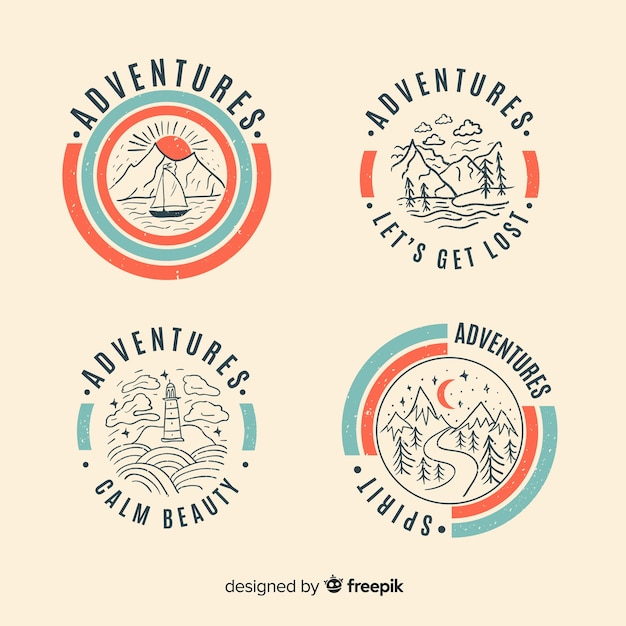 Collection De Logos D'aventure Vintage Vecteur Premium