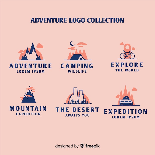 Collection de logos d'aventure vintage Vecteur gratuit