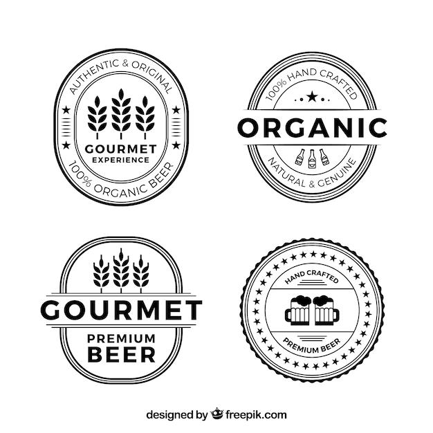 Collection de logos de bière plate Vecteur gratuit