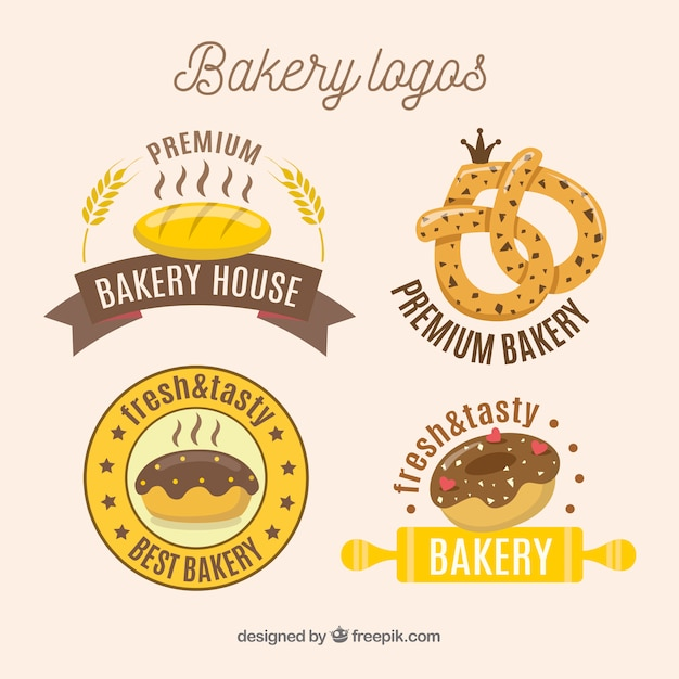 Collection de logos de boulangerie dessinés à la main Vecteur gratuit