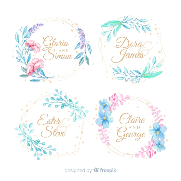 Collection De Logos De Cadre De Mariage Aquarelle Vecteur gratuit