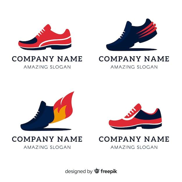Collection de logos de chaussures de course Vecteur gratuit