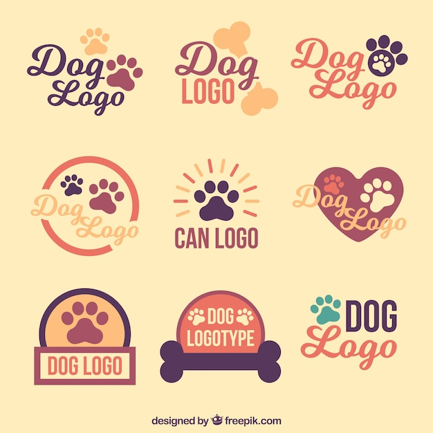 Collection De Logos De Chien Vintage Vecteur Premium