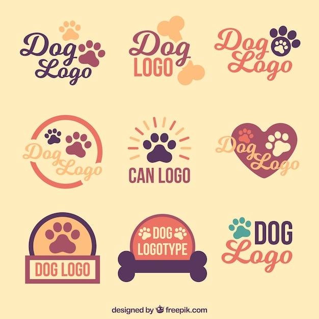Collection de logos de chien vintage Vecteur gratuit