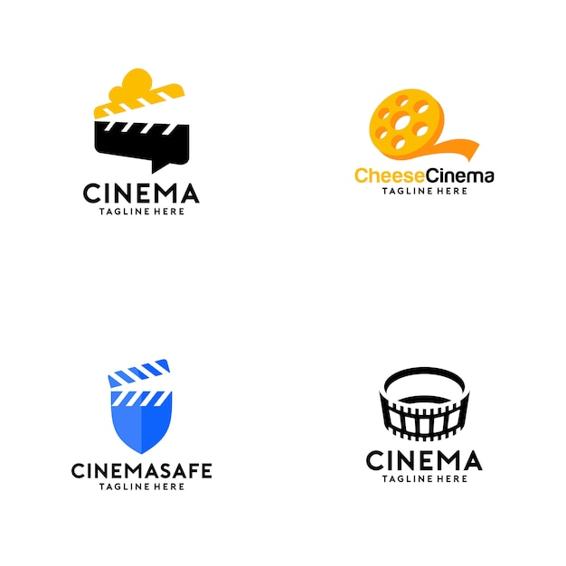 Collection de logos de cinéma Vecteur Premium