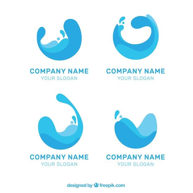 Collection De Logos De L'eau Pour Les Entreprises Dans Un Style Plat Vecteur gratuit