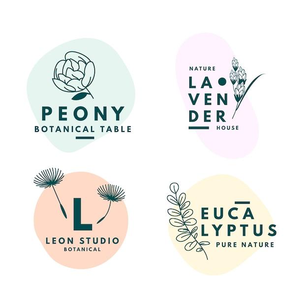 Collection De Logos D'entreprise Naturels Dans Un Style Minimal Vecteur gratuit