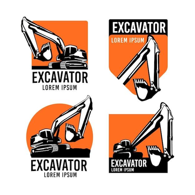 Collection De Logos D'excavatrice Et De Construction Vecteur gratuit