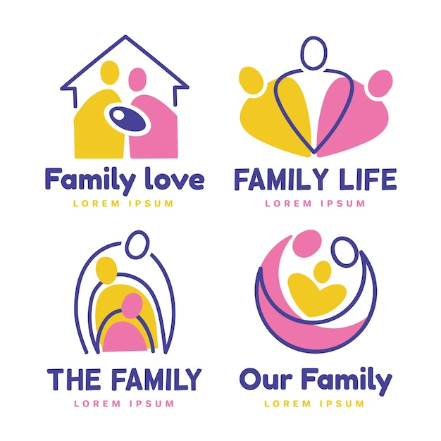 Collection De Logos De Famille Vecteur Premium
