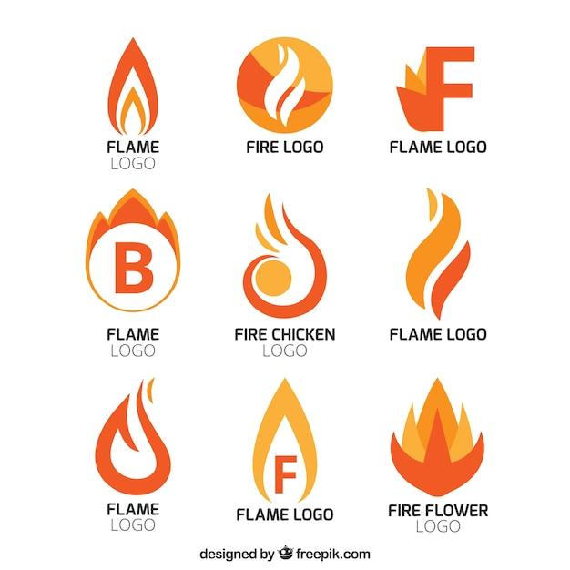 Collection De Logos De Flamme Abstraites Vecteur gratuit