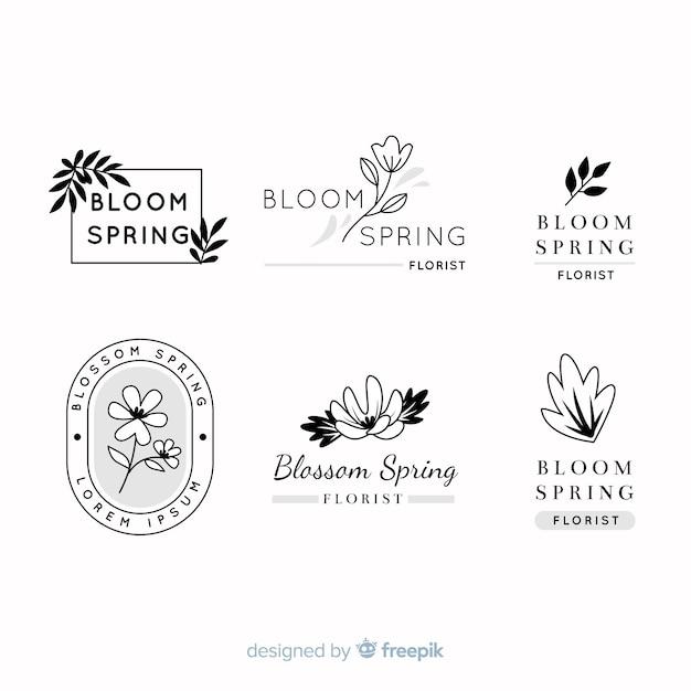 Collection De Logos De Fleuriste De Mariage Vecteur gratuit