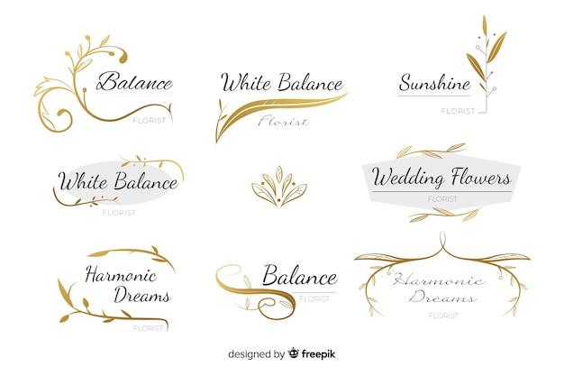 Collection De Logos De Fleuriste De Mariage Vecteur Premium
