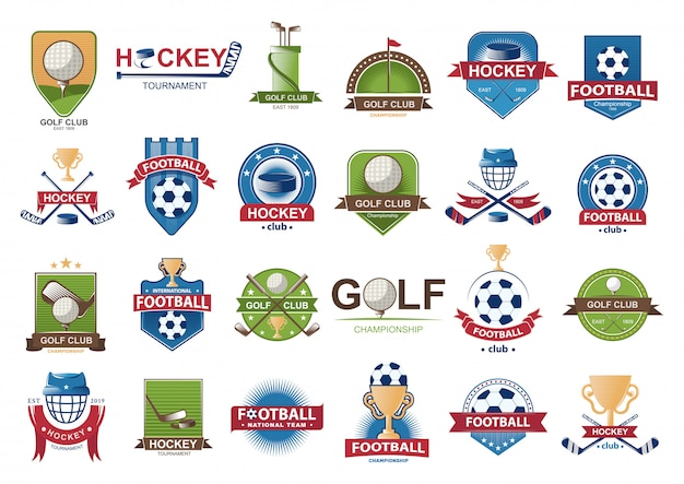Collection De Logos De Football. Vecteur Premium
