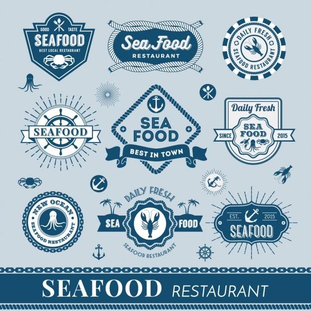 Collection de logos de fruits de mer Vecteur gratuit