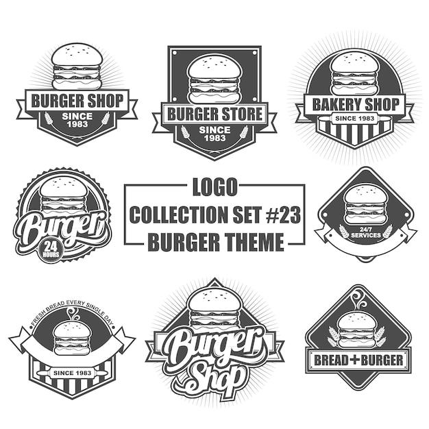 Collection de logos, insignes, emblèmes, symboles et icônes vectoriels sertie de thème burger Vecteur Premium