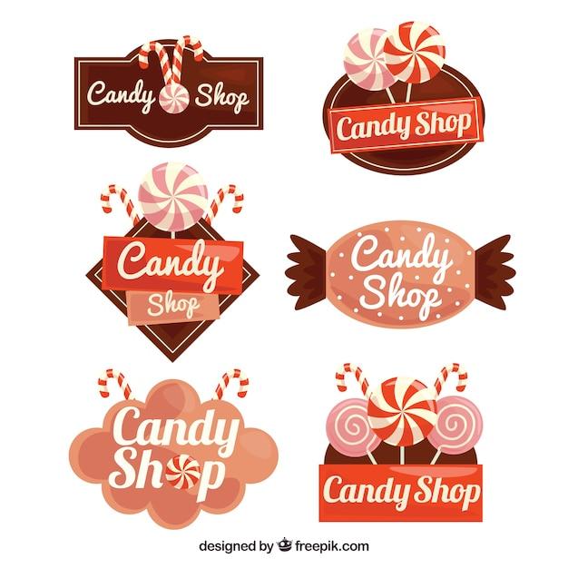 Collection de logos de magasin de bonbons pour les entreprises Vecteur gratuit