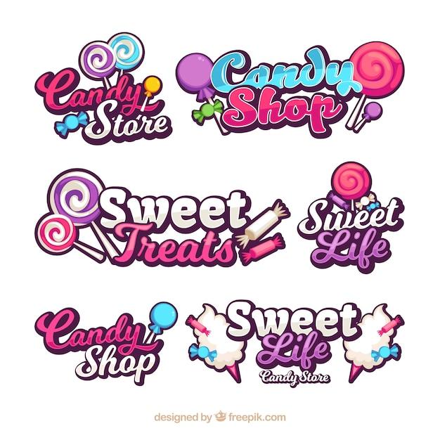 Collection De Logos De Magasin De Bonbons Pour Les Entreprises Vecteur Premium