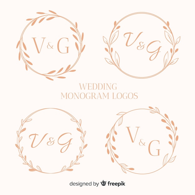 Collection De Logos De Mariage Monogramme Vecteur gratuit