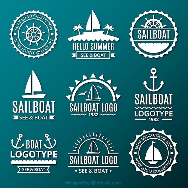 Collection De Logos Marins Vecteur gratuit