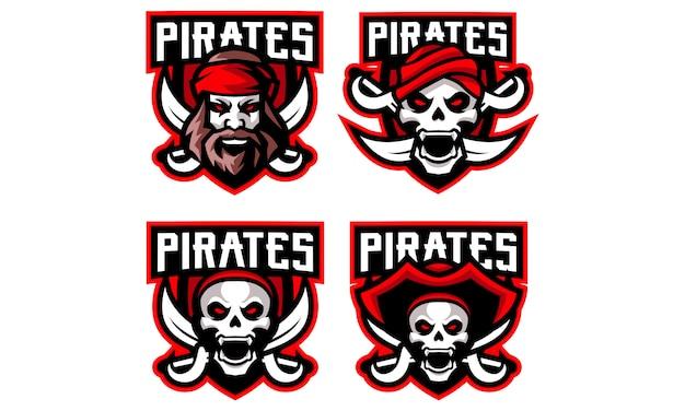 Collection De Logos De Mascottes Pirates Esports Vecteur Premium