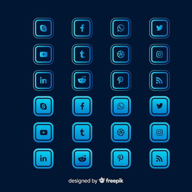 Collection de logos de médias sociaux de forme carrée dégradée Vecteur gratuit