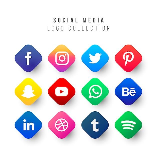 Collection de logos de médias sociaux avec des formes géométriques Vecteur gratuit