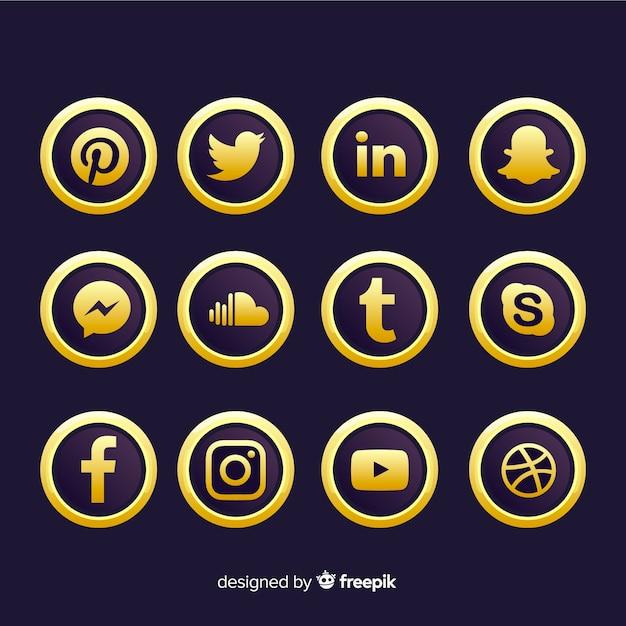 Collection de logos de médias sociaux de luxe Vecteur gratuit