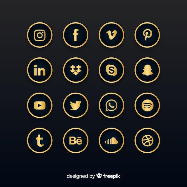 Collection De Logos De Médias Sociaux De Luxe Vecteur Premium