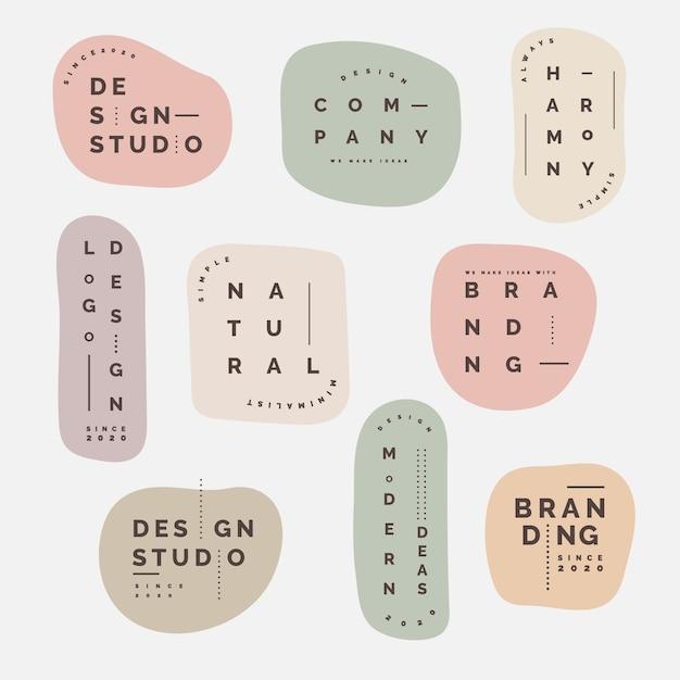 Collection De Logos Minimale Avec Des Couleurs Pastel Vecteur Premium