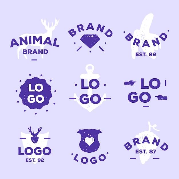 Collection De Logos Minimale En Deux Couleurs Vecteur gratuit