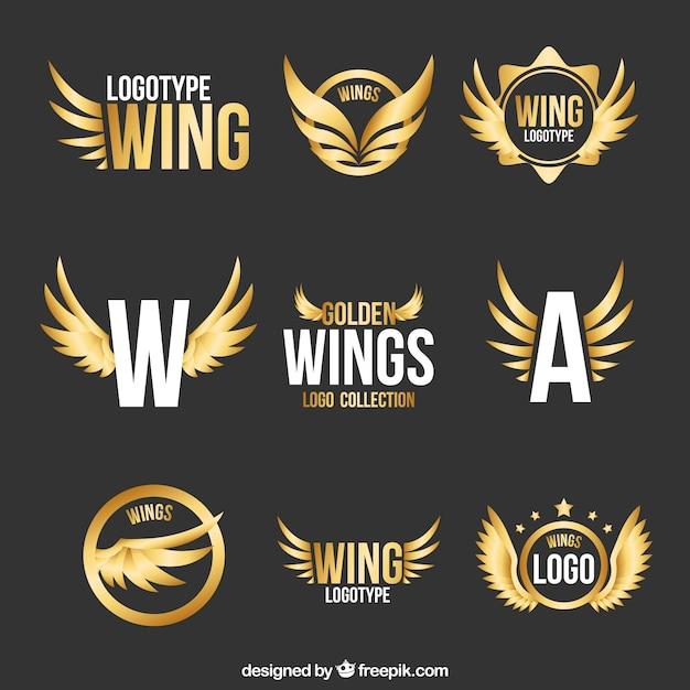 Collection De Logos Modernes D'ailes Dorées Vecteur Premium