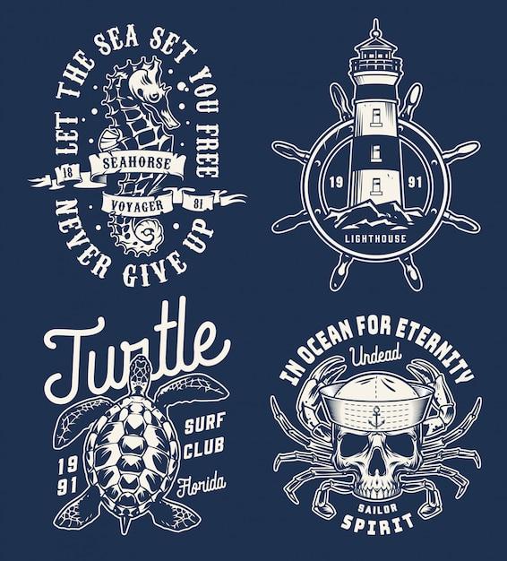 Collection De Logos Monochromes Nautiques Vintage Vecteur Premium
