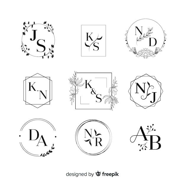 Collection de logos de monogramme de mariage Vecteur gratuit
