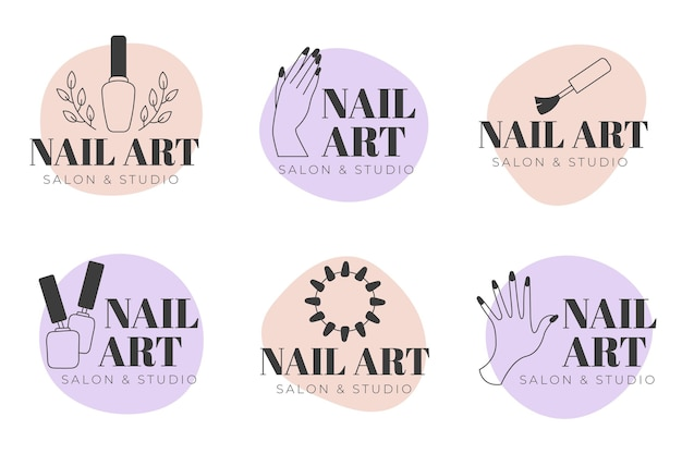 Collection De Logos Nails Art Studio Vecteur Premium