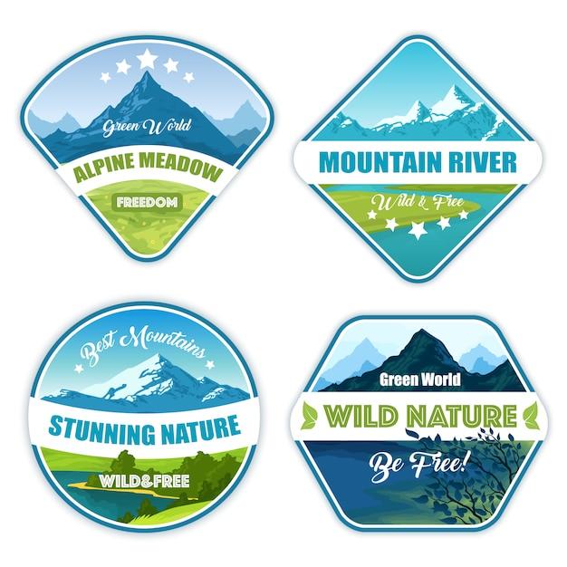 Collection de logos de nature sauvage Vecteur gratuit